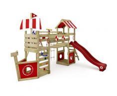 Aire de jeux Portique bois StormFlyer avec balançoire et toboggan rouge Cabane enfant exterieur