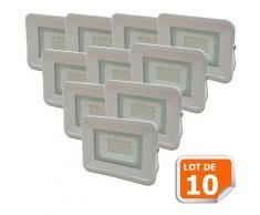 Lot de 10 LED Projecteur Lampe 20W Blanc 6000K IP65 Extra Plat