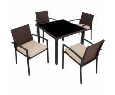 Salon de Jardin Ensemble Mobilier de Jardin 4 Chaises 1 Table en Résine Tressée Marron