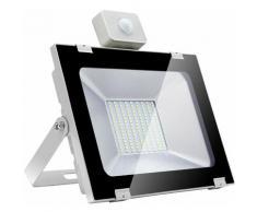 7 PCS Projecteur LED 100W 220V Ultrathin Cool White 5ème génération avec capteur