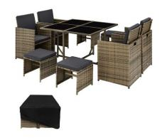 Tectake - Salon de jardin BILBAO 8 places avec housse de protection - mobilier de jardin, meuble de