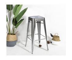 Tabouret de bar en métal brut, aspect galvanisé, Tabouret haut hauteur 76cm parfait pour table de