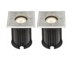 Ensemble de 2 lumières extérieures à LED, lampes de sol encastrées, éclairage de jardin pour allée