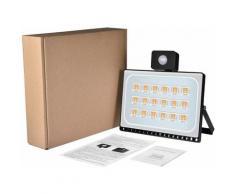 Hommoo - 20 PCS 100W Projecteur LED SMD Lampe Extérieure Mit Bewegungsmelder Blanc Chaud