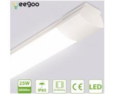 Oeegoo 25W LED Tube 120CM, Plafonnier IP65 Etanche, 2800LM Réglette LED, Lampe de Plafond,