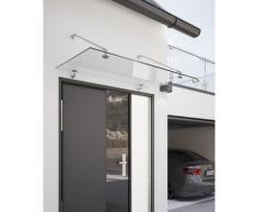 Auvent marquise de porte, 140 x 90 cm, Davita, verre véritable 12 mm, fixations inox