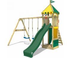 WICKEY Aire de jeux Portique bois Smart Brave avec balançoire et toboggan vert Maison enfant