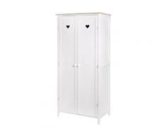 Armoire enfant 2 portes - Décor Chene et laqué blanc -MDF et Pin Massif - L80 x P 50 x H180 cm