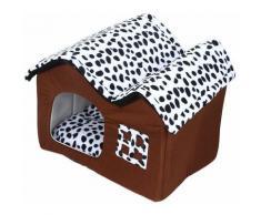 ®Double toit de chenil Niche Pour Chien Double toit Chambre - Brown-couleur de la vache - Jeobest
