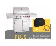 BBQ Grill Barbecue À Gaz INOX PHÉNIX - 4 BRÛLEURS+1 FEU LATÉRAL et Thermomètre, Puissance Totale