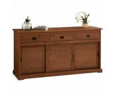 Idimex - Buffet SAVONA bahut vaisselier commode avec 3 tiroirs et 3 portes coulissantes, en pin