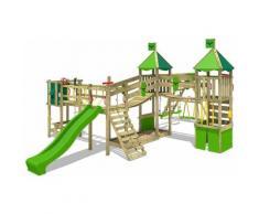 Aire de jeux Portique bois FunnyFortress avec balançoire SurfSwing et toboggan vert pomme Maison
