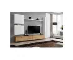 Ensemble meuble salon mural SWITCH VIII. Meuble TV mural design, coloris chêne Wotan et blanc