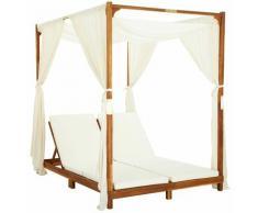 Asupermall - Chaise longue double avec rideaux et coussins Bois d'acacia
