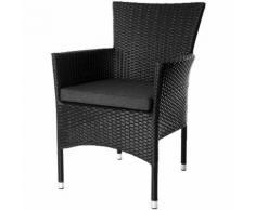 Lot de 2 fauteuils empilables en rotin noir Noir 55.00 cm x 66.00 cm x 87.00 cm