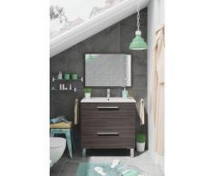 Caesaroo - Meuble de salle de bain sur le sol 80 cm Gris cendré avec miroir | Gris cendré - Avec
