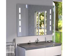 Miroir anti-buée 100x80 cm - éclairage intégré à LED et interrupteur sensitif - Prestige