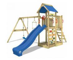 Aire de jeux WICKEY MultiFlyer Portique de jeux en bois Tour d'escalade avec balançoire - toboggan