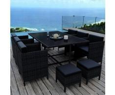 MUNGA 10 Places - Ensemble encastrable salon / table de jardin résine tressée - Noir