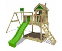 Aire de jeux bois FATMOOSE RockyRanch Roll XXL Portique de jeux on bois avec toboggan vert et