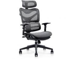 Fauteuil de bureau ergonomique Renens avec Dossier inclinable et Repose-pieds noir