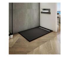 Océan 120x80cm receveur de douche à poser extra-plat - Noir avec le tuyau +siphon