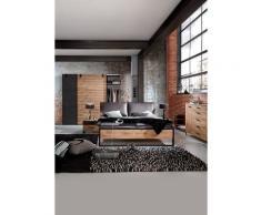 Ensemble chambre adulte complète Imitation chêne poutre rechampis raw steel 180 x 200 cm -PEGANE-