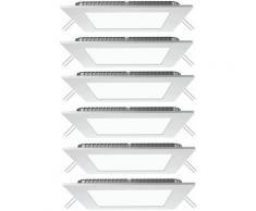 Lot de 6 panneaux LED encastrables au plafond grille blanc froid salon appliques murales carré