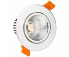 Spot LED Downlight COB Orientable Rond 12W Argenté Blanc Froid 6000K
