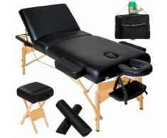 Table de massage Pliante 3 Zones 13 cm d'Epaisseur Noir + Tabouret + Housse de transport
