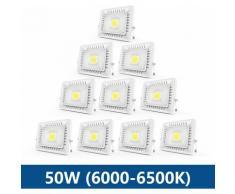10× 50W Projecteur LED IP65 Étanche Ultra-Mince Spot LED Léger Puissant Lampe pour Intérieur et