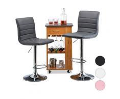 Relaxdays - Tabouret de bar hauteur réglable avec dossier pivotant lot de 2 métal HxlxP: 117 x 40 x