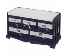 Commode, banquette avec 5 tiroirs 77x45x36cm, style shabby, vintage ~ bleu