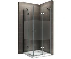 MAYA Cabine de douche H 180 cm en verre semi-opaque 95x85 cm