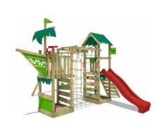 FATMOOSE Aire de jeux Portique bois WaterWorld avec balançoire et toboggan rouge Maison enfant