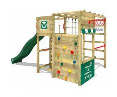WICKEY Aire de jeux Portique bois Smart Victory avec toboggan vert Échafaudage grimpant avec mur
