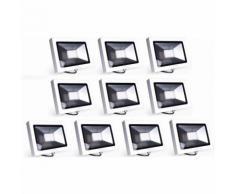 10×Auralum 30W Projecteur à LED Ultraléger pour Éclairage Extérieur et Intérieur Spot LED IP65