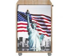 Caisson à rideau 2 tiroirs chêne naturel imprimé statut de la Liberté Orga