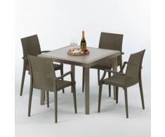 Grand Soleil - Table carrée beige + 4 chaises colorées Poly rotin synthétique Elegance | Bistrot
