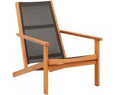 Vidaxl - Chaise de jardin Noir Bois d'eucalyptus solide et textilène