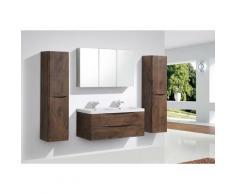 Meuble de salle de bain à suspendre SMILE 1200, bois de rose - en option miroir et armoire murale:
