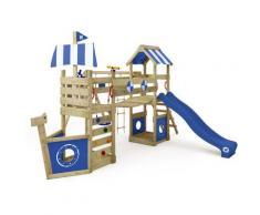 Aire de jeux WICKEY StormFlyer Portique de jeux en bois Tour d'escalade avec balançoire et
