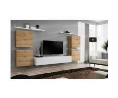 Paris Prix - Meuble Tv Mural Design switch Iv 320cm Naturel & Blanc
