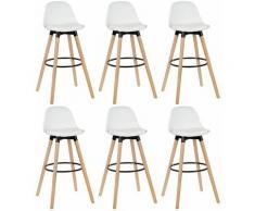 Jeobest - Lot de 6 tabourets de bar - Simili blanc - Pieds en bois hêtre massif - Style scandinave