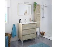 Meuble de salle de bain sur le sol 80 cm chêne avec miroir et lavabo | Couleur - Avec lampe Led