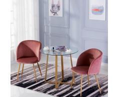 Table à manger ronde transparente Scandinave ?80*75cm et 2 fauteuils en velours rose 47x 52 x 82 cm