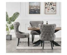 Life Interiors - MAYFAIR - Lot de 6 Chaises Capitonnées en Velours Gris Foncé - Style Contemporain