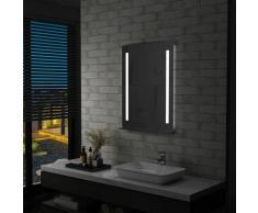 Vidaxl - Miroir mural à LED pour salle de bains avec étagère 60x80 cm