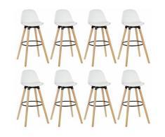 Lot de 8 tabourets de bar - Simili blanc - Pieds en bois hêtre massif - Style scandinave