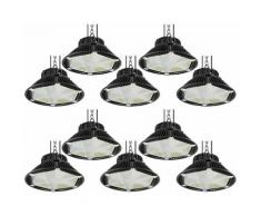 10×Anten 150W UFO LED Anti-Éblouissement Suspension Industrielle LED Étanche IP65 Éclairage Haute